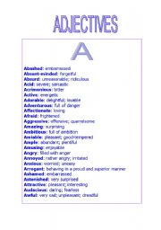 adjectives a list of adjectives that begin with the letter a to ...