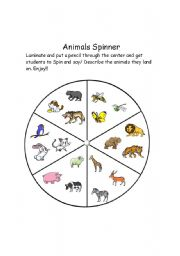 English Worksheet: Animal Spinner