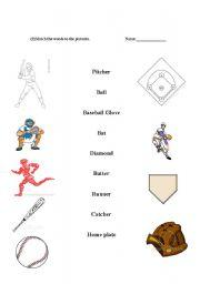 English Worksheet: Baseball word match