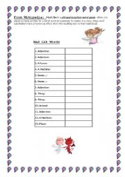 English worksheet: Mad Lib