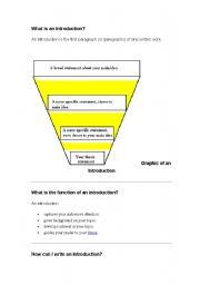 English Worksheets: writing introduction