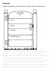 English Worksheets: Writing paper with pre writing