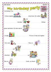 my birthday party esl worksheet by mouka. Black Bedroom Furniture Sets. Home Design Ideas