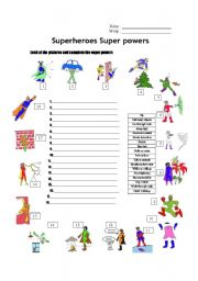 English Worksheet: Superheroes Super Powers