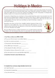 English Worksheet: Holidays in Mexico