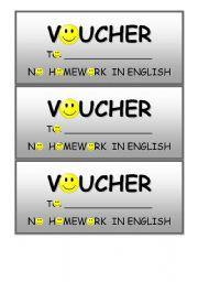 English Worksheet: homework vouchers