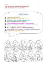 English Worksheet: Daily routines - Time - Actions