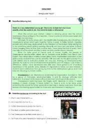English Worksheet: TEST - VOLUNTEERING AND ENVIRONMENTAL PROBLEMS