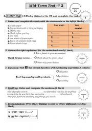 English Worksheet: Listening and Language Test about The Environment