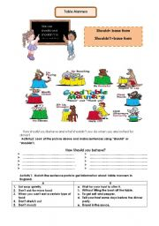 Worksheets Table Manners Worksheet english teaching worksheets table manners manners