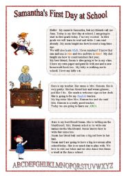 English Worksheet: Samantha�s First Day at School - Reading for beginners
