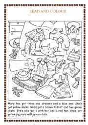English Worksheet: colour the clothes