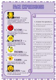 English Worksheets: FACE EXPRESSIONS