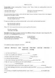 English Worksheet: Wish clauses