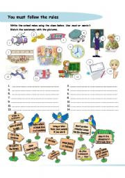 English Worksheet: You must follow the rules - must/mustn´t