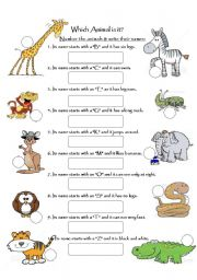 English Worksheet: Which animal is it?