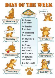 DAYS OF THE WEEK! - CLASSROOM POSTER FOR KIDS