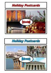 English Worksheet: Holiday Postcards Pair Work Activity 1/5