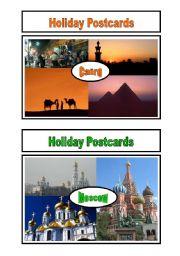English Worksheet: Holiday Postcards Pair Work 2/5