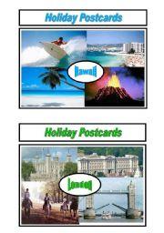English Worksheet: Holiday Postcards Pair Work 3/5