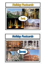 English Worksheet: Holiday Postcards Pair Work 4/5