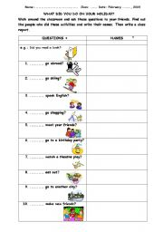 English Worksheet: WRITING A CLASSROOM REPORT ON A HOLIDAY