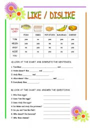 English Worksheets: like dislike
