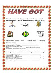 English Worksheets: HAVE GOT - Affirmative - Negative - Questions