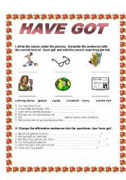 English Worksheets: HAVE GOT - Affirmative - Negative - Questions