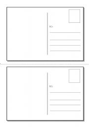 English Worksheet: Layout for postcards