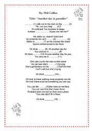 English Worksheet: Another day in paradise+Phil Collins