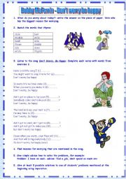 English Worksheets: Don´t Worry Be Happy by Bobby McFerrin with teacher´s guide