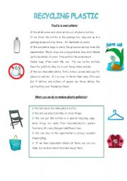 English Worksheet: Recycling plastic