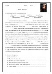 English Worksheet: TWILIGHT MOVIE