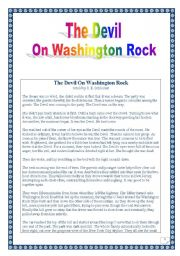 English Worksheet: The devil on Washington Rock (Full-scale PROJECT) (Reading comprehension & writing + discussion) (11 pages)
