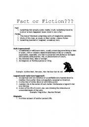 English Worksheets: fact or fiction