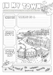 English Worksheet: In my town there is ...