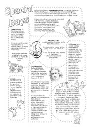 English Worksheets: Special Days