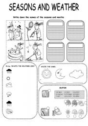 English Worksheet: SEASONS AND WEATHER EXERCISE