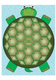 English Worksheets: Turtle Game Board - 30 spaces(Matching Cards Available in Another File)