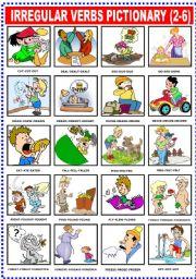 English Worksheets: IRREGULAR VERBS PICTIONARY (2-6)
