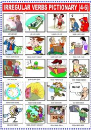 English Worksheets: IRREGULAR VERBS PICTIONARY (4-6)