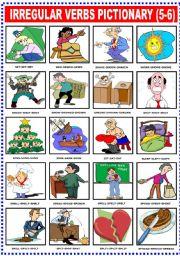 English Worksheets: IRREGULAR VERBS PICTIONARY (5-6)