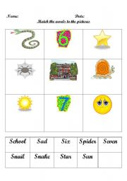 English Worksheets: First sound S word match