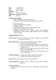 English Worksheet: reading comprehension - Communicative approach