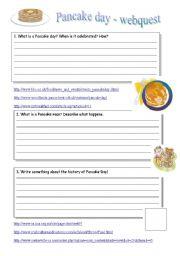 English Worksheet: PANCAKE DAY WEBQUEST