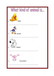 English Worksheets: Animals -  What kind of animal is.....?