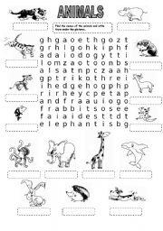 English Worksheet: ANIMALS WORDSEARCH (2)