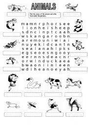 English Worksheet: ANIMALS WORDSEARCH (3)
