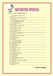 English Worksheet: REPORTED SPEECH - affirmative and negative commands.